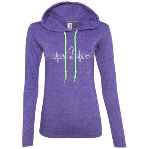 Cat Heartbeat Ladies' Lightweight T-Shirt Hoodie