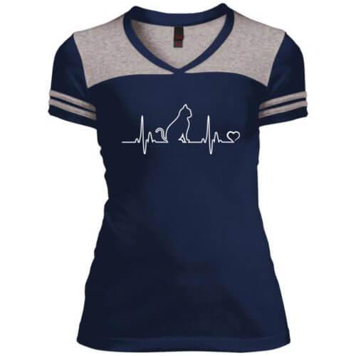 Cat Heartbeat Varsity V-Neck T-Shirt