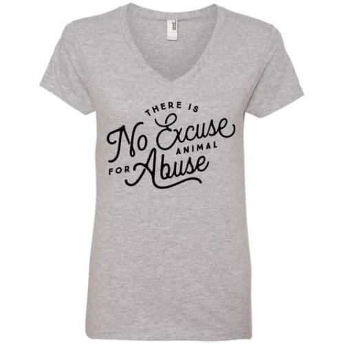 No Excuse For Abuse Ladies' Premium V-Neck T-Shirt