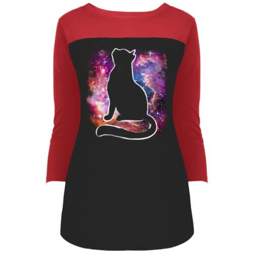 Universe Cat Colorblock 3/4 Sleeve