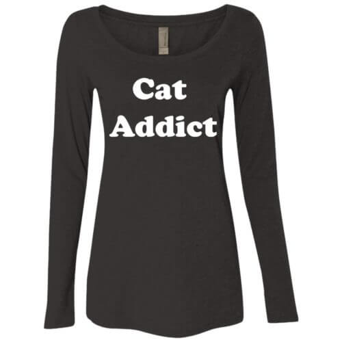 Cat Addict Fitted Scoop Neck Long Sleeve
