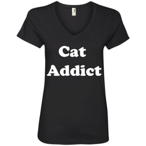 Cat Addict V-Neck Tee