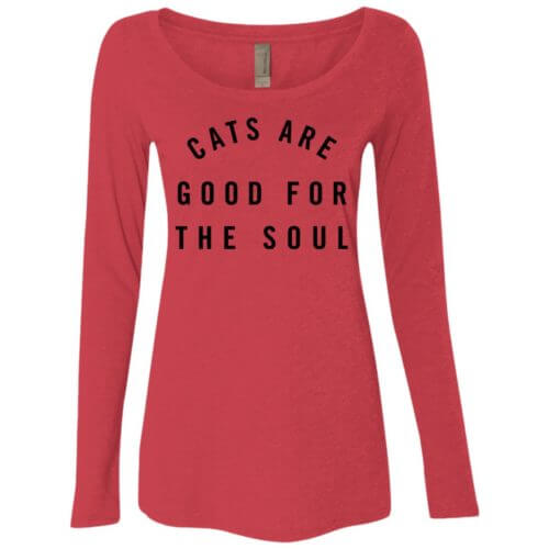 Cats Are Good Fitted Scoop Neck Long Sleeve