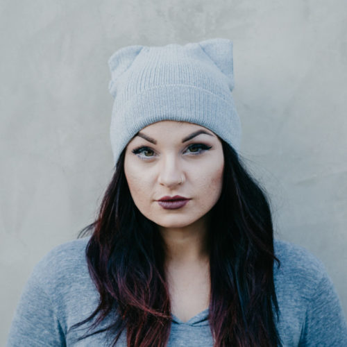 Grey Flat Knit Beanie With Ears