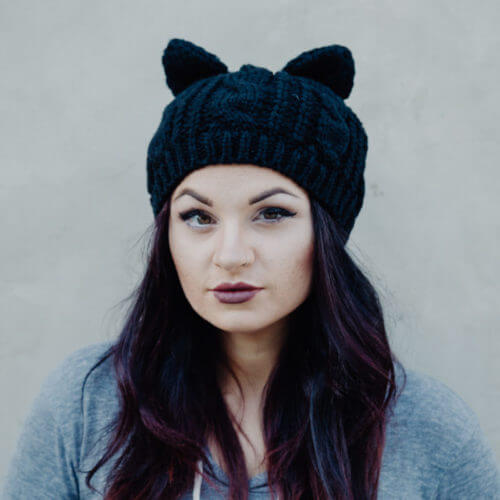 Chunky Knit Slouchy Beanie With Ears