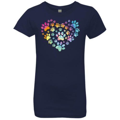 Heart Paw Tie Dye Girls' Premium T-Shirt