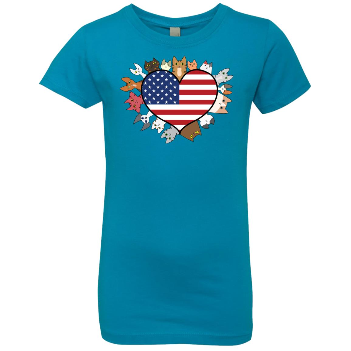 Heart Cat USA Girls\' Premium Tee - iHeartCats.com