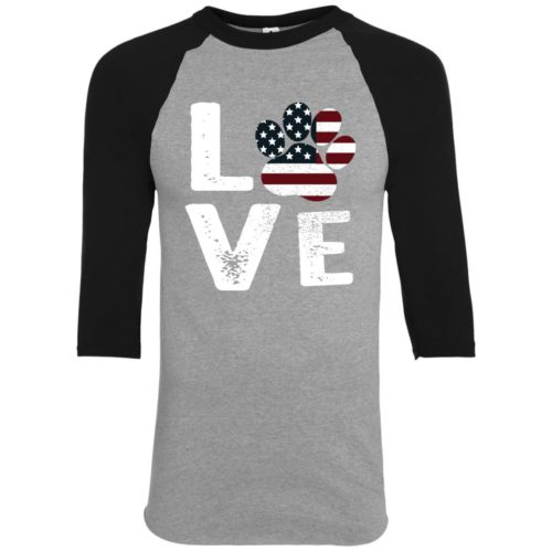 Love Paw USA Youth Colorblock 3/4 Sleeve Shirt