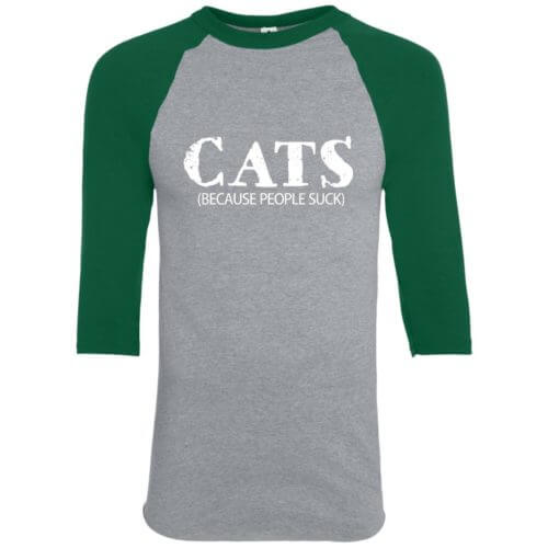 Cats: Because People Suck Youth Colorblock 3/4 Sleeve Shirt