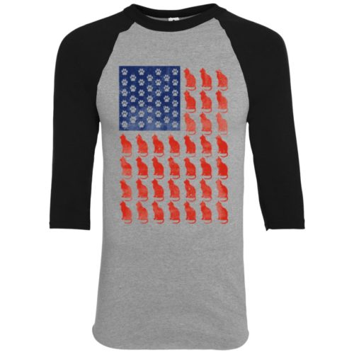 Red Cat Blue Paw Youth Colorblock 3/4 Sleeve Shirt