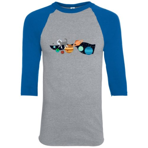 Space Traveler Cat Youth Colorblock 3/4 Sleeve Shirt