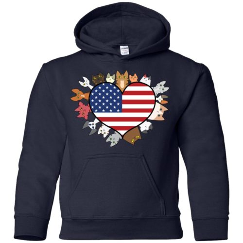 Heart Cat USA Youth Pullover Hoodie