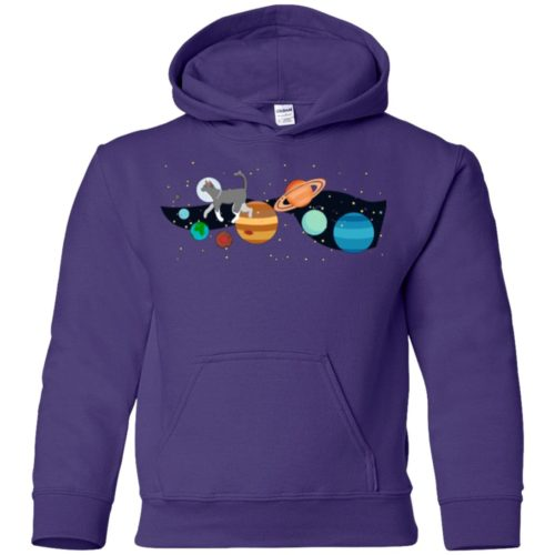Space Traveler Cat Youth Pullover Hoodie
