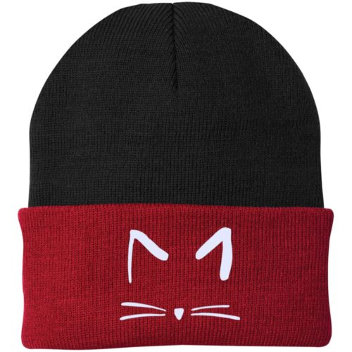 Cat Sketch Embroidered Knit Cap