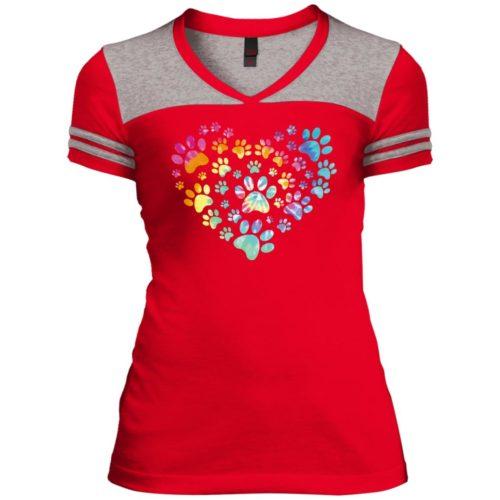 Heart Paw Tie Dye Varsity V-Neck T-Shirt