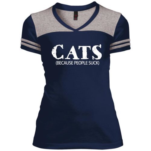 Cats: Because People Suck Varsity V-Neck T-Shirt