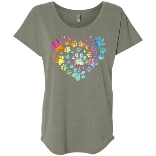 Heart Paw Tie Dye Ladies' Slouchy T-Shirt
