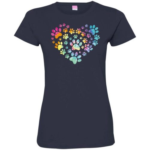 Heart Paw Tie Dye Ladies' Premium T-Shirt