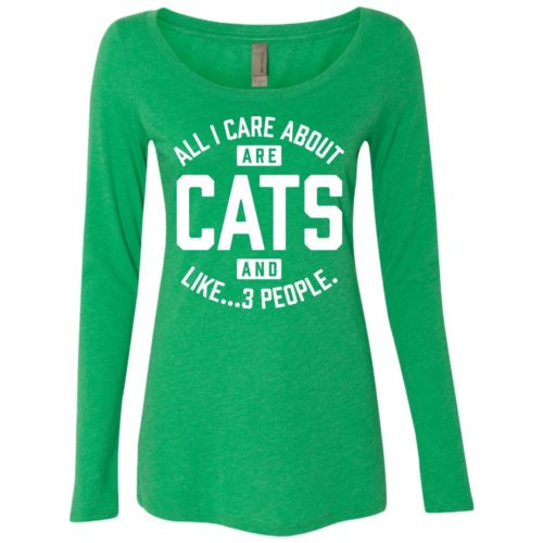 Cats and 3 People Fitted Scoop Neck Long Sleeve