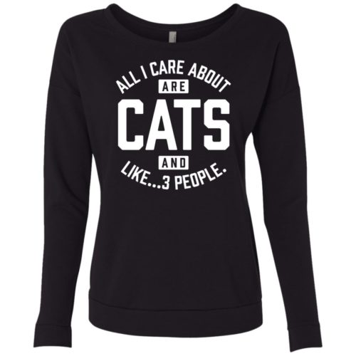Cats and 3 People Scoop Neck Sweatshirt