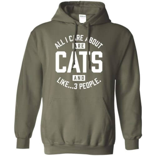 Cats and 3 People Pullover Hoodie