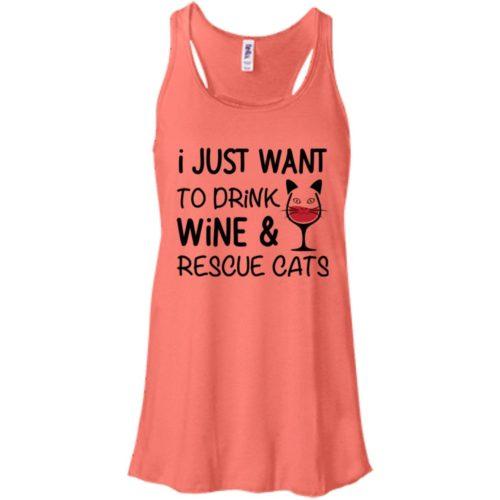 Drink Wine & Rescue Cats Bella Fashion Tank