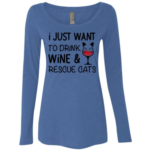 Drink Wine & Rescue Cats Fitted Scoop Neck Long Sleeve