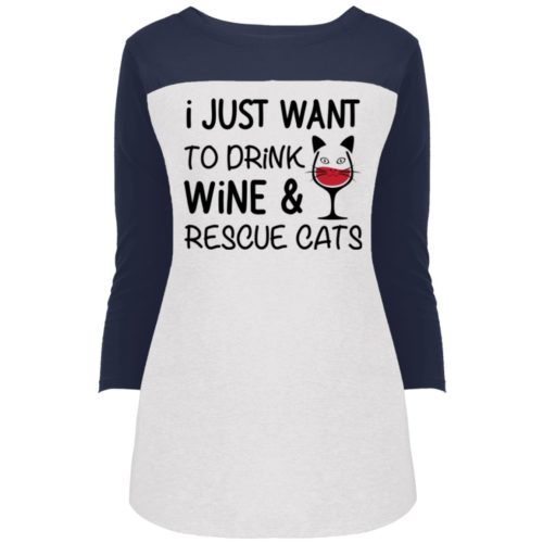 Drink Wine & Rescue Cats Colorblock 3/4 Sleeve