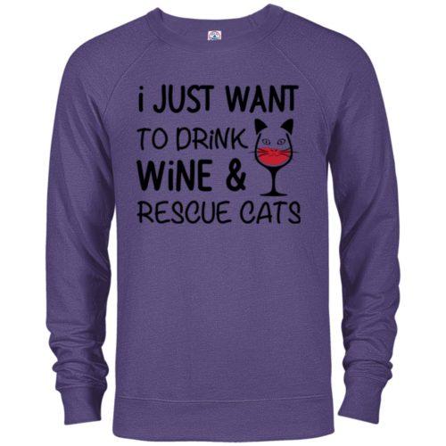 Drink Wine & Rescue Cats Premium Crew Neck Sweatshirt