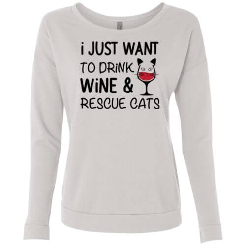 Drink Wine & Rescue Cats Scoop Neck Sweatshirt