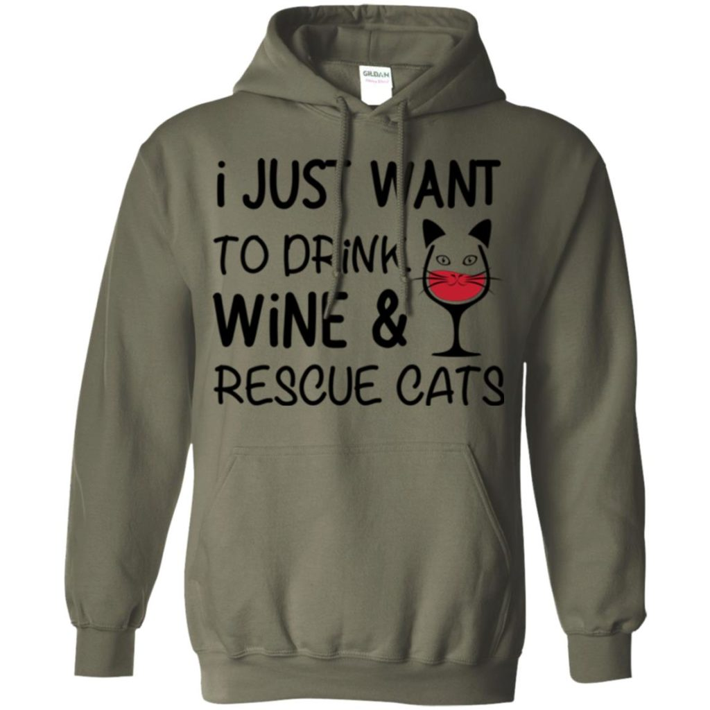 Drink Wine & Rescue Cats Pullover Hoodie