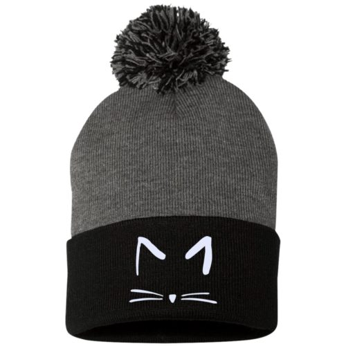 Cat Sketch Embroidered Pom Pom Knit Cap