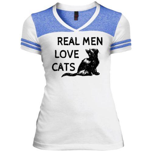 Real Men Love Cats Varsity V-Neck T-Shirt