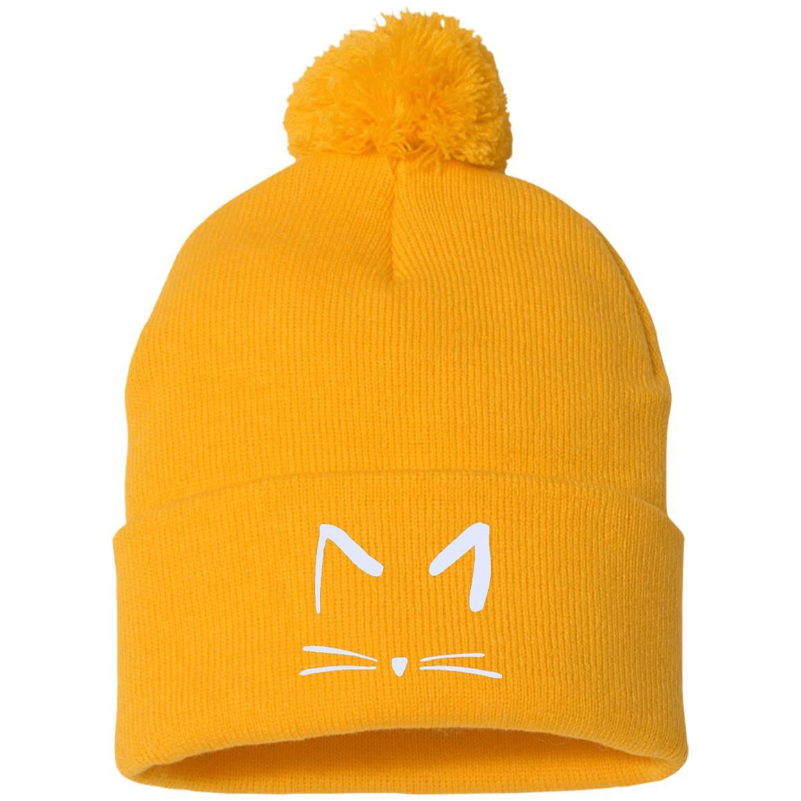 Cat Sketch Embroidered Pom Pom Knit Cap Iheartcats Com