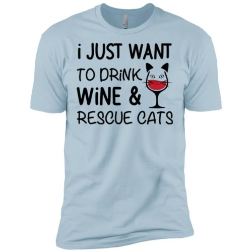 Drink Wine & Rescue Cats Premium T-Shirt