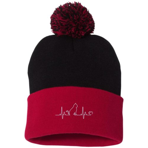 Cat Heartbeat Embroidered Pom Pom Knit Cap