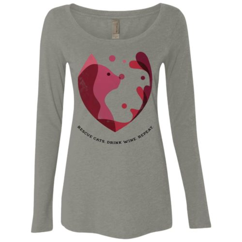 Cat Wine Splash Ladies' Scoop Neck Long Sleeve Shirt