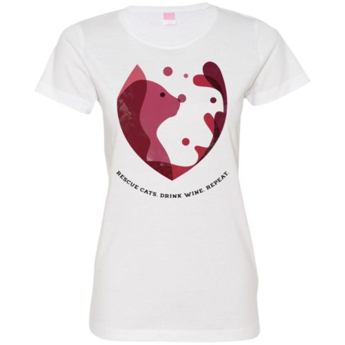 Cat Wine Splash Fitted Tee