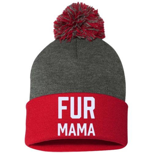 Fur Mama Embroidered Pom Pom Knit Cap