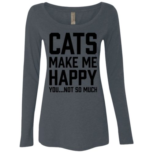 Cats Make Me Happy Fitted Scoop Neck Long Sleeve