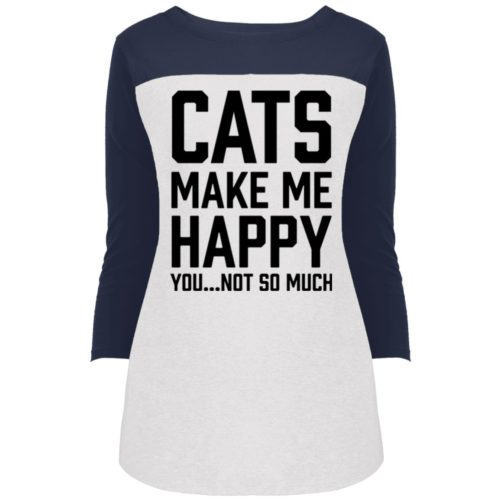 Cats Make Me Happy Colorblock 3/4 Sleeve