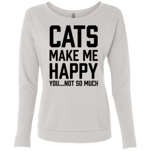 Cats Make Me Happy Scoop Neck Sweatshirt