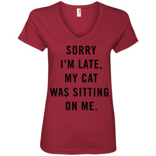 Sitting Cat V-Neck Tee