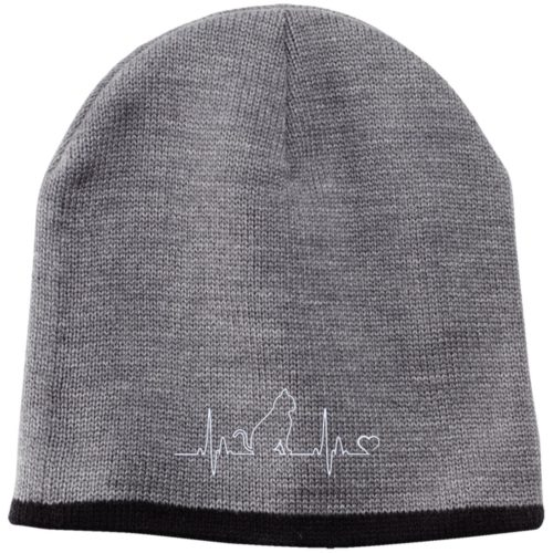 Cat Heartbeat Embroidered Beanie