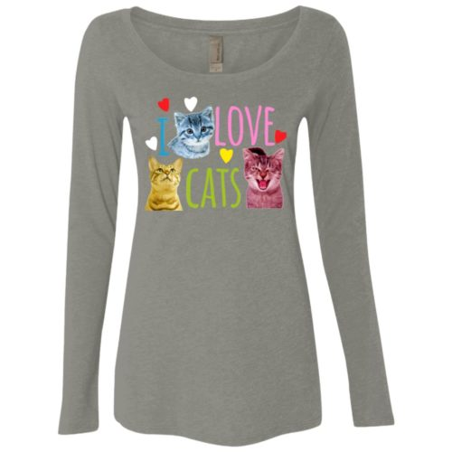 I Love Cats Fitted Scoop Neck Long Sleeve