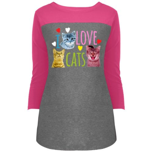 I Love Cats Colorblock 3/4 Sleeve