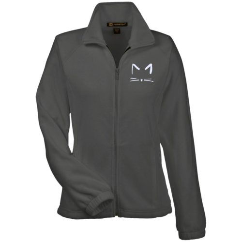 Cat Sketch Embroidered Ladies' Fleece Full Zip Jacket