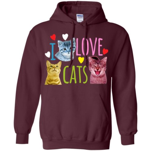 I Love Cats Pullover Hoodie