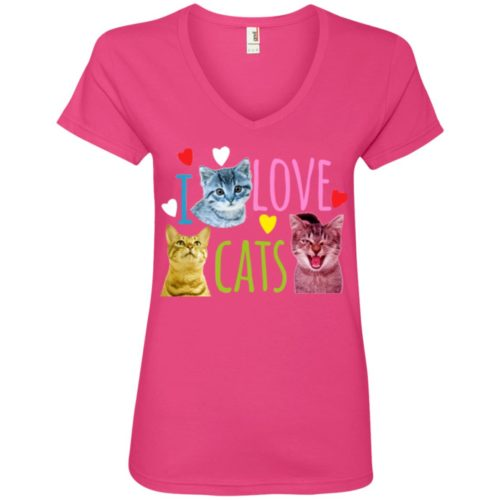 I Love Cats V-Neck Tee