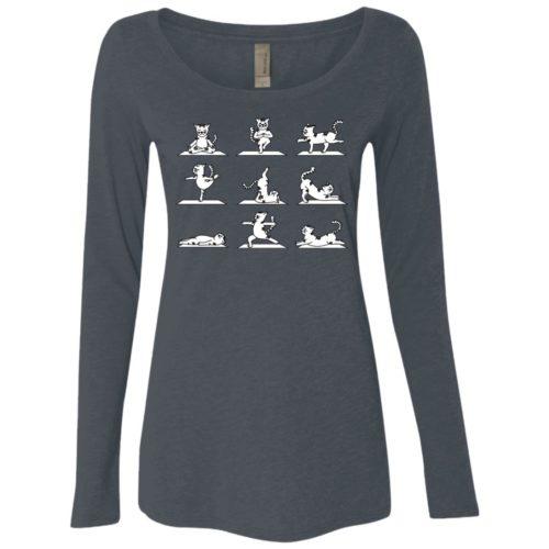 Cat Yoga Ladies' Scoop Neck Long Sleeve Shirt